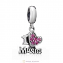 I Love my Music Charms 925 Sterling Silver with Rose Crystal
