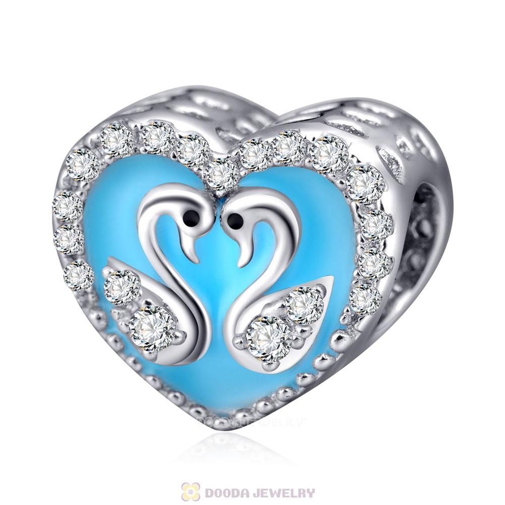 Heart of Swan Charm 925 Sterling Silver with Clear CZ