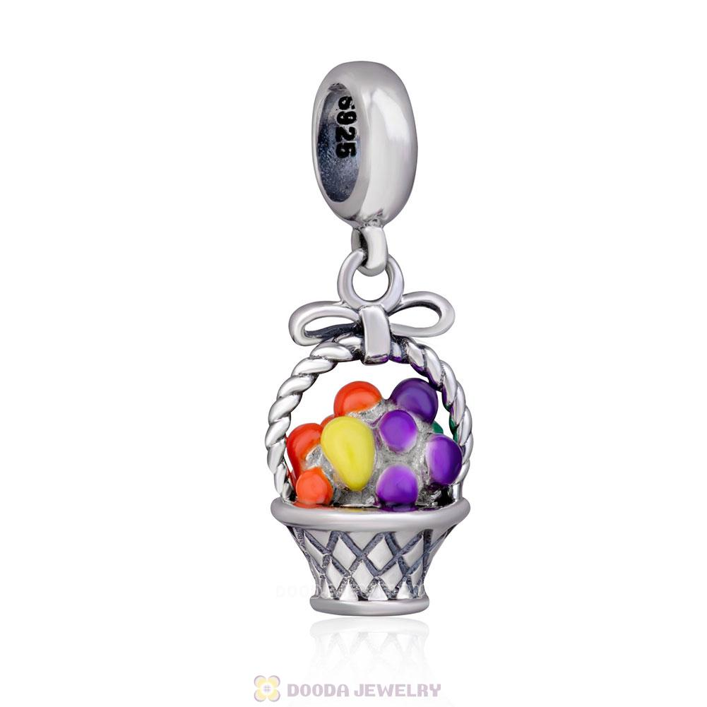 Fruit Basket Dangle Charms 925 Sterling Silver with Enamel