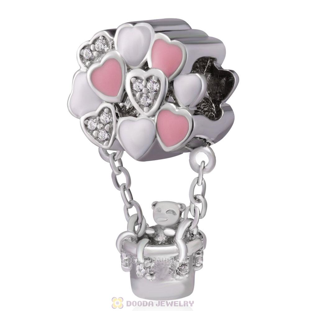 Bear Love Hot Air Balloon Charms 925 Sterling Silver