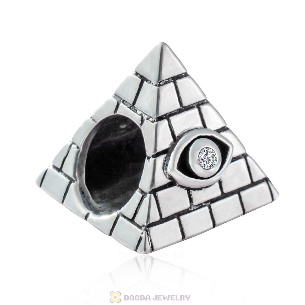 Egyptian Pyramid Charm 925 Sterling Silver with CZ