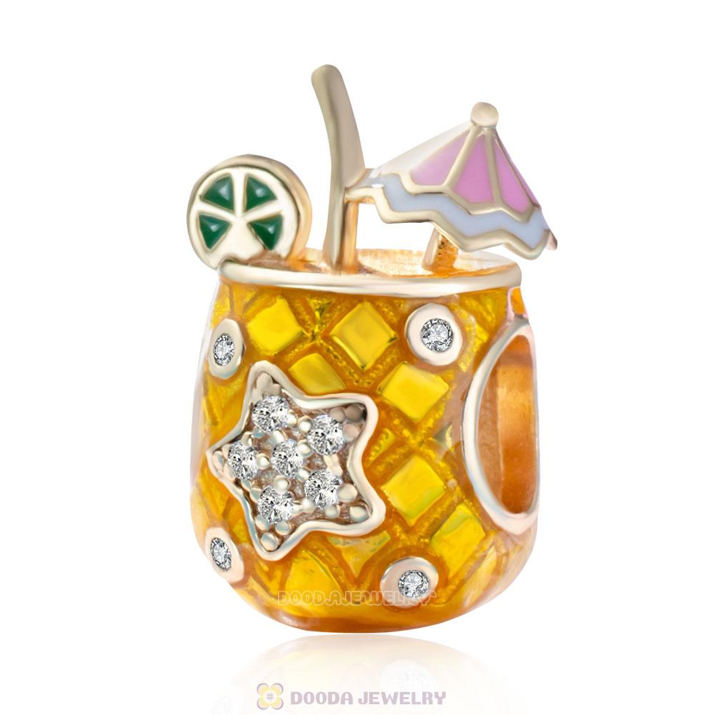 Tropical Drink Charm 925 Sterling Silver Gold Enamel Beads