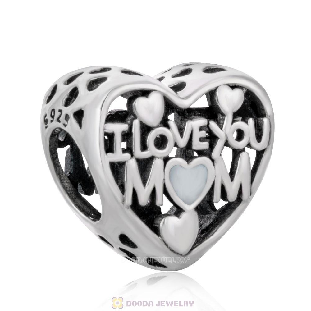 I Love You Mom Motherly Heart Charm with Enamel