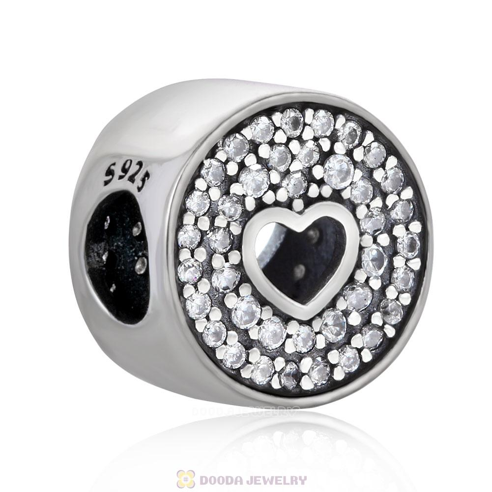 Love Heart Charm Anniversary Celebration Bead with Pave Zircon