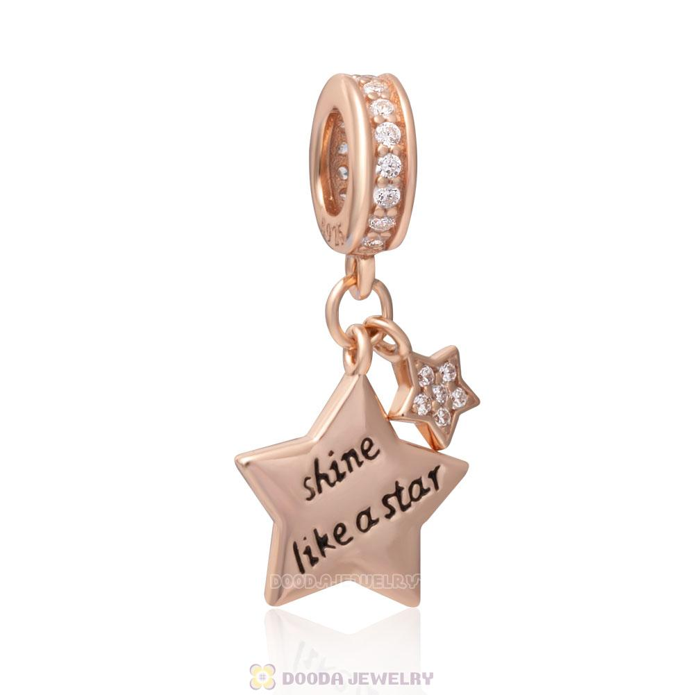 Rose Gold Shine Like Star Dangle Charm Bead with White CZ