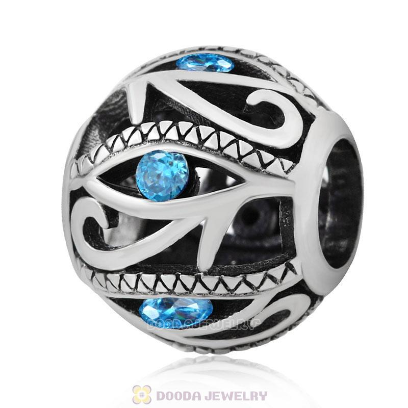 Openwork Evil Eye Charm Bead with Light Blue Zircon