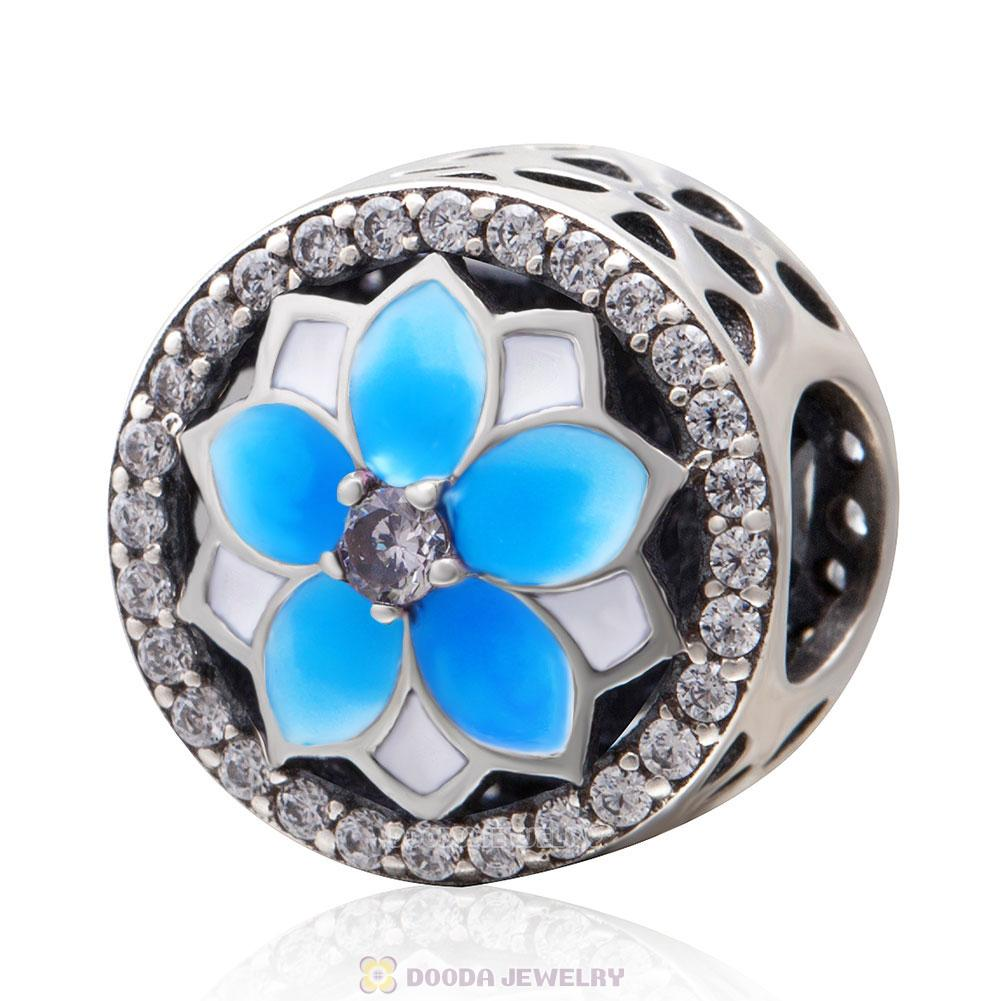 Magnolia flower Charm with Light Blue Gradient