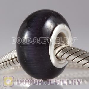 Wholesale European Style Cat Eye Lampwork Glass Beads in alloy double core