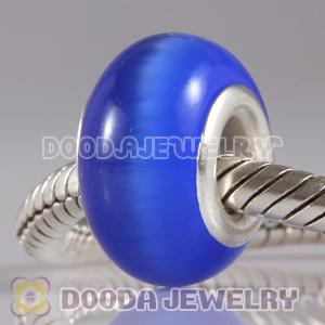 Dark Blue Cat Eye Lampwork Glass Beads with alloy double core fit European Largehole Jewelry Bracelet