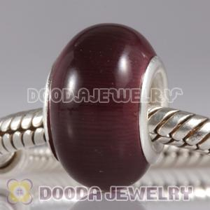 Purple Cat Eye Lampwork Glass Beads with alloy double core fit European Largehole Jewelry Bracelet
