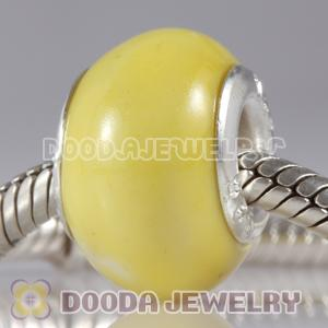 European Style Yellow Ceramic Charm Beads in alloy double core