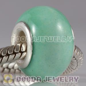 European Style Green Ceramic Charm Beads in alloy double core