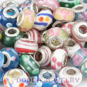Mix 50 Pcs Different Styles Alloy Core Murano Glass Beads European Compatible