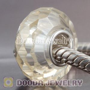 Faceted zirconia stone beads in 925 silver single core European Compatible