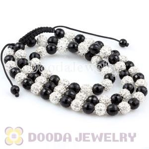 handmade Necklace Wholesale with Faceted Black and Crystal Disco Beads