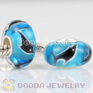 Shark glass beads in 925 silver core European compatible
